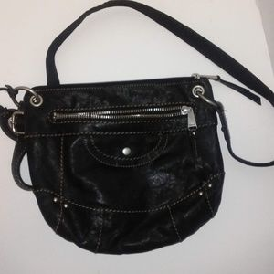 Black Leather Fossil Crossbody medium sized key